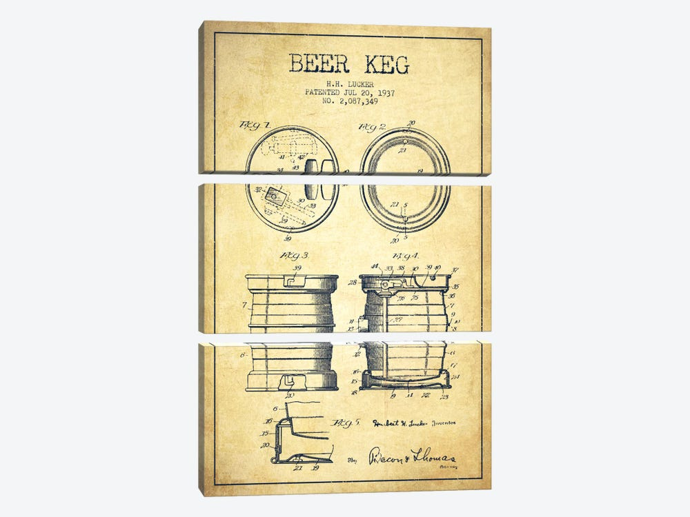 Beer Keg Vintage Patent Blueprint by Aged Pixel 3-piece Canvas Wall Art