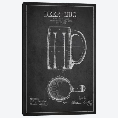 Beer Mug Charcoal Patent Blueprint Canvas Print #ADP699} by Aged Pixel Canvas Art