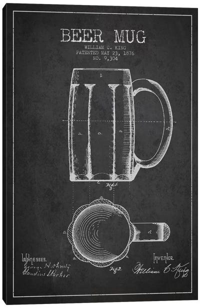 Beer Mug Charcoal Patent Blueprint Canvas Art Print