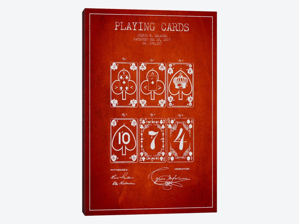 Saladee Cards Red Patent Blueprint by Aged Pixel 1-piece Canvas Artwork