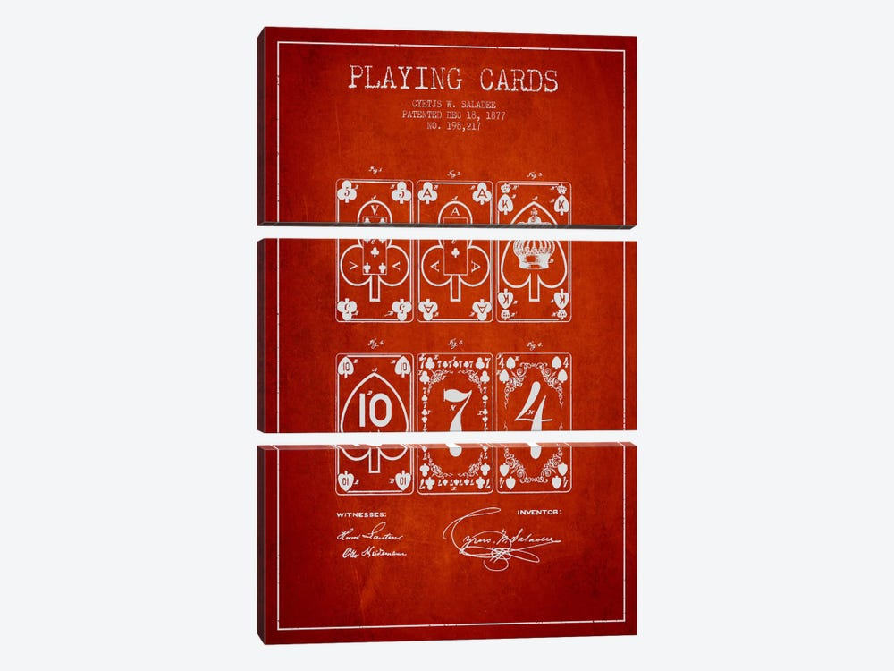 Saladee Cards Red Patent Blueprint by Aged Pixel 3-piece Canvas Art