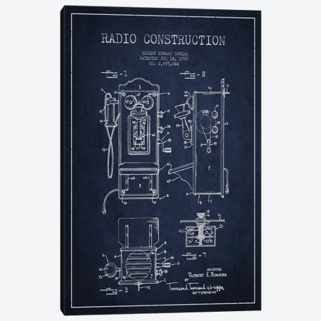 Bowers Radio Blue Patent Blueprint Canvas Print #ADP6} by Aged Pixel Canvas Wall Art