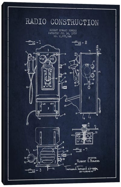 Bowers Radio Blue Patent Blueprint Canvas Art Print