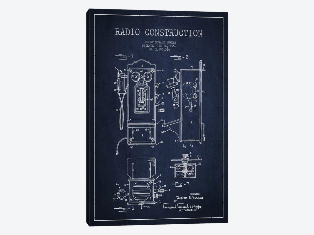 Bowers Radio Blue Patent Blueprint by Aged Pixel 1-piece Canvas Artwork