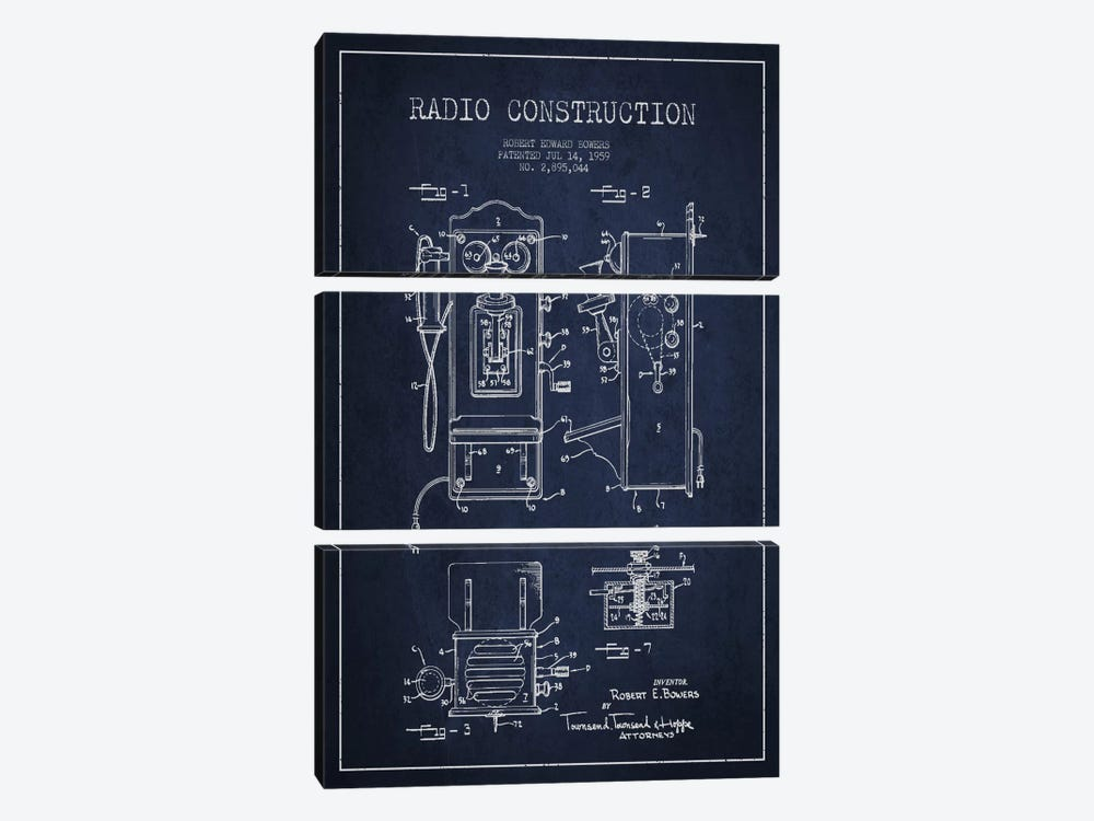 Bowers Radio Blue Patent Blueprint by Aged Pixel 3-piece Canvas Artwork