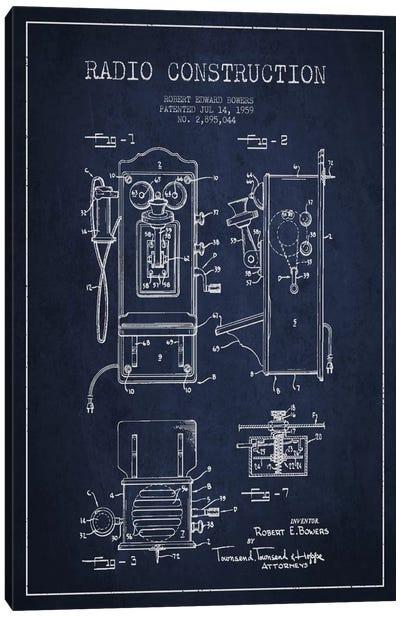 Bowers Radio Blue Patent Blueprint Canvas Art Print