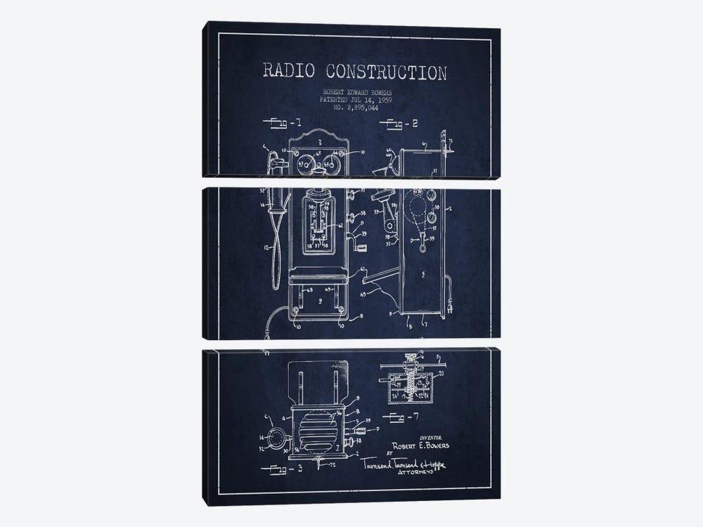 Bowers Radio Blue Patent Blueprint by Aged Pixel 3-piece Canvas Artwork
