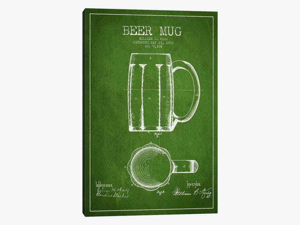 Beer Mug Green Patent Blueprint by Aged Pixel 1-piece Canvas Artwork