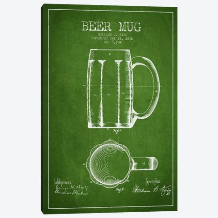 Beer Mug Green Patent Blueprint Canvas Print #ADP700} by Aged Pixel Canvas Art