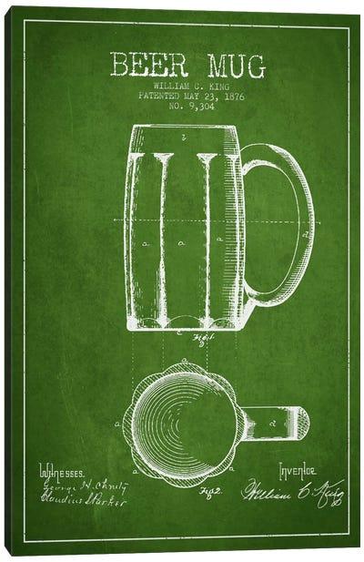 Beer Mug Green Patent Blueprint Canvas Art Print