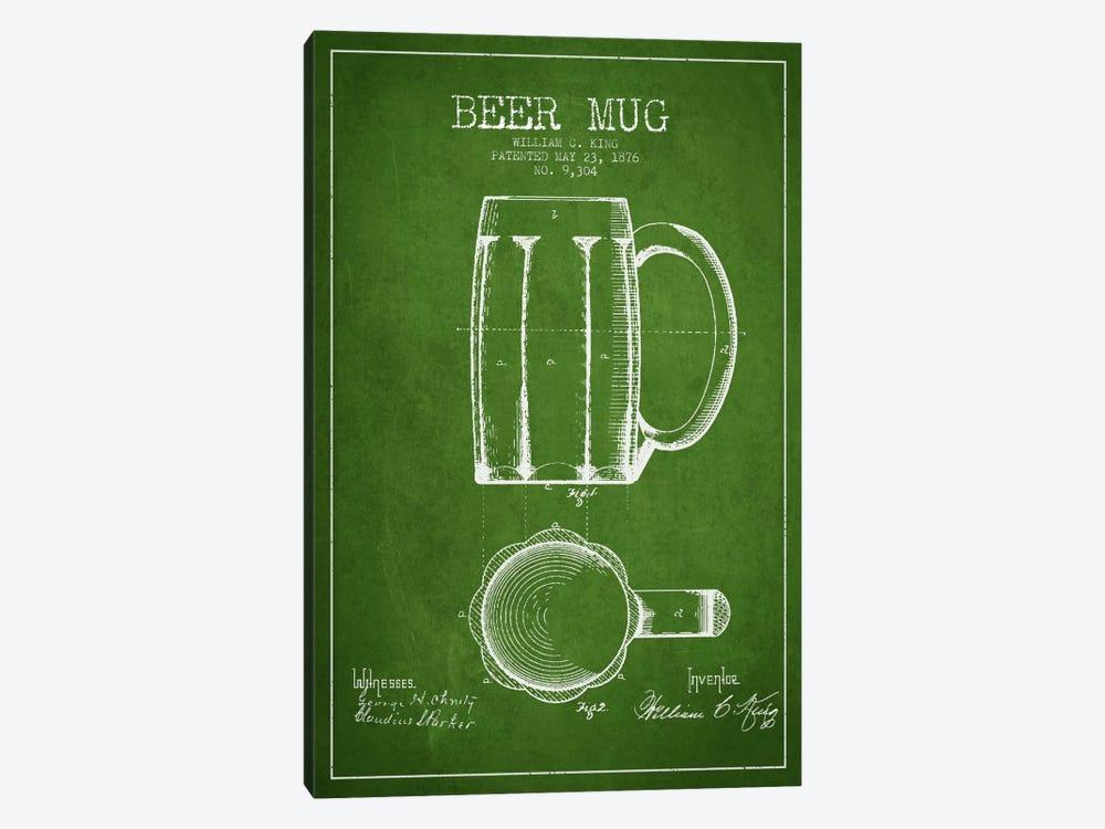 Beer Mug Green Patent Blueprint by Aged Pixel 1-piece Canvas Artwork