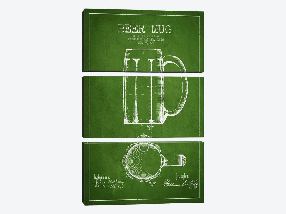 Beer Mug Green Patent Blueprint by Aged Pixel 3-piece Canvas Wall Art