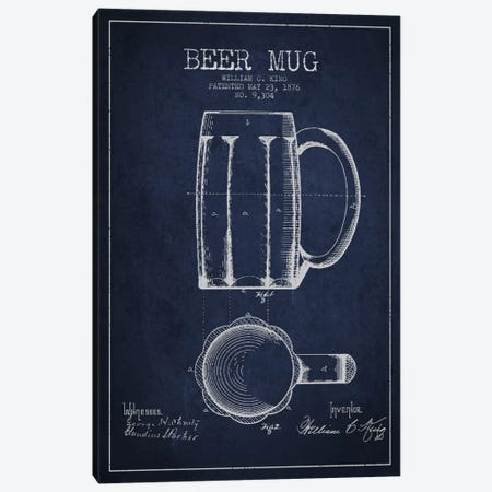 Beer Mug Navy Blue Patent Blueprint Canvas Print #ADP701} by Aged Pixel Canvas Art