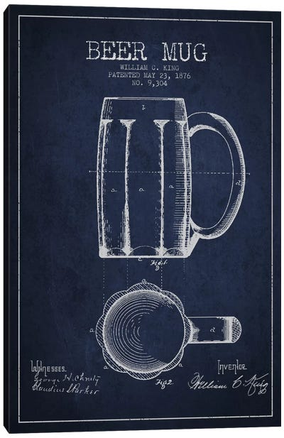 Beer Mug Navy Blue Patent Blueprint Canvas Art Print