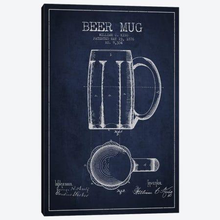 Beer Mug Navy Blue Patent Blueprint Canvas Print #ADP701} by Aged Pixel Canvas Art