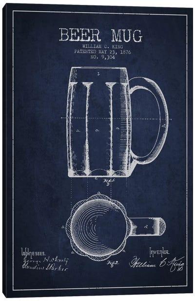 Beer Mug Navy Blue Patent Blueprint Canvas Art Print
