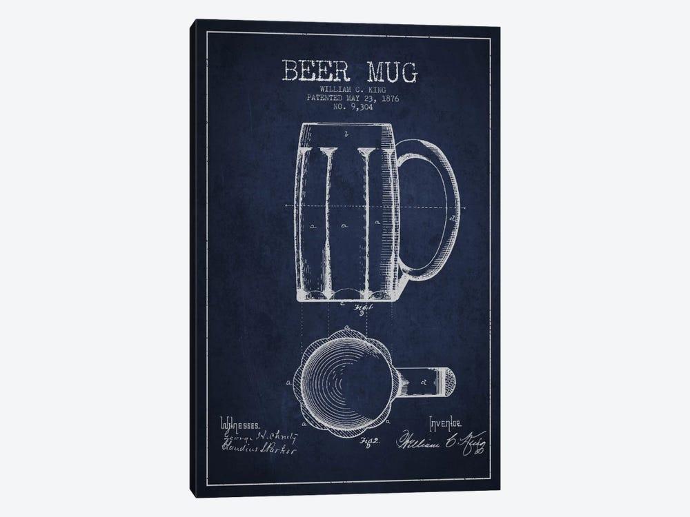 Beer Mug Navy Blue Patent Blueprint by Aged Pixel 1-piece Art Print