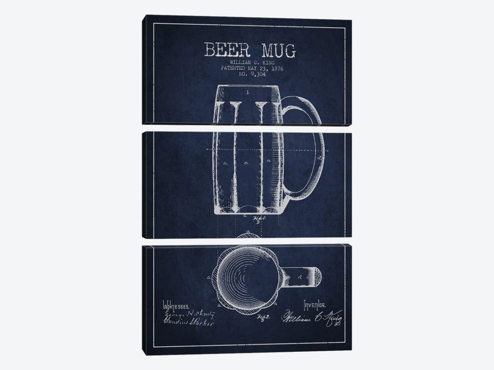 Beer Mug Navy Blue Patent Blueprint by Aged Pixel 3-piece Canvas Print