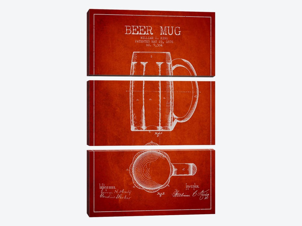 Beer Mug Red Patent Blueprint by Aged Pixel 3-piece Canvas Wall Art