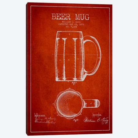 Beer Mug Red Patent Blueprint Canvas Print #ADP702} by Aged Pixel Canvas Artwork