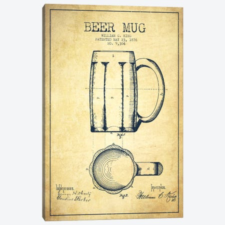 Beer Mug Vintage Patent Blueprint Canvas Print #ADP703} by Aged Pixel Canvas Art