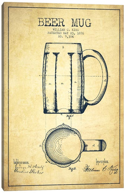 Beer Mug Vintage Patent Blueprint Canvas Art Print
