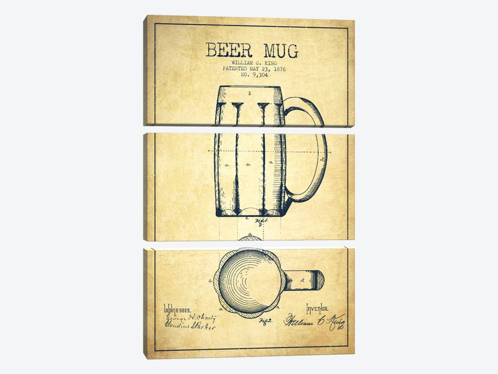Beer Mug Vintage Patent Blueprint by Aged Pixel 3-piece Canvas Print