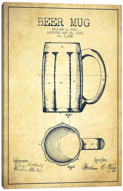 Beer Mug Vintage Patent Blueprint Canvas Art Print