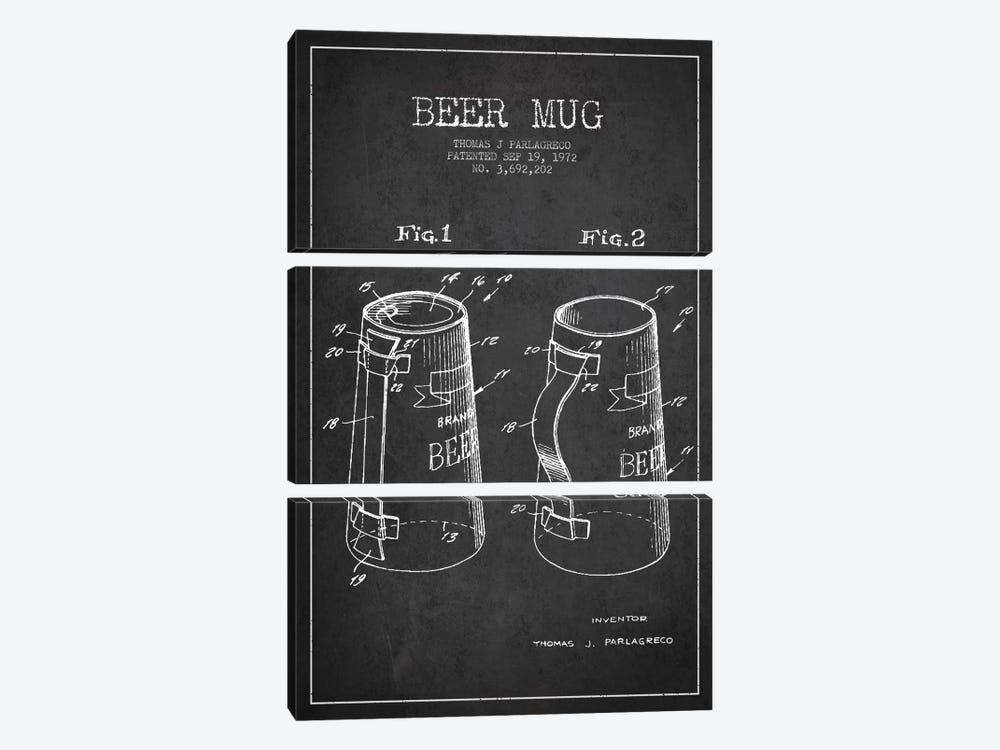 Beer Mug Charcoal Patent Blueprint by Aged Pixel 3-piece Canvas Artwork