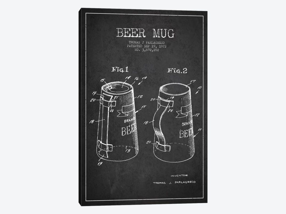 Beer Mug Charcoal Patent Blueprint by Aged Pixel 1-piece Canvas Artwork
