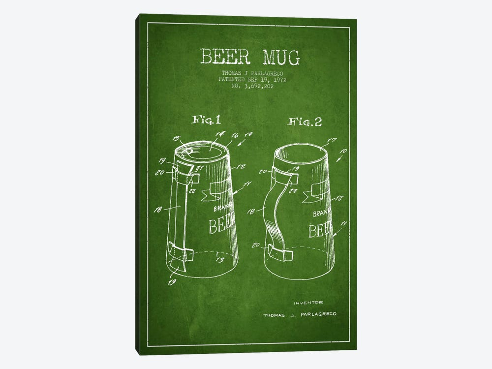 Beer Mug Green Patent Blueprint by Aged Pixel 1-piece Canvas Art Print