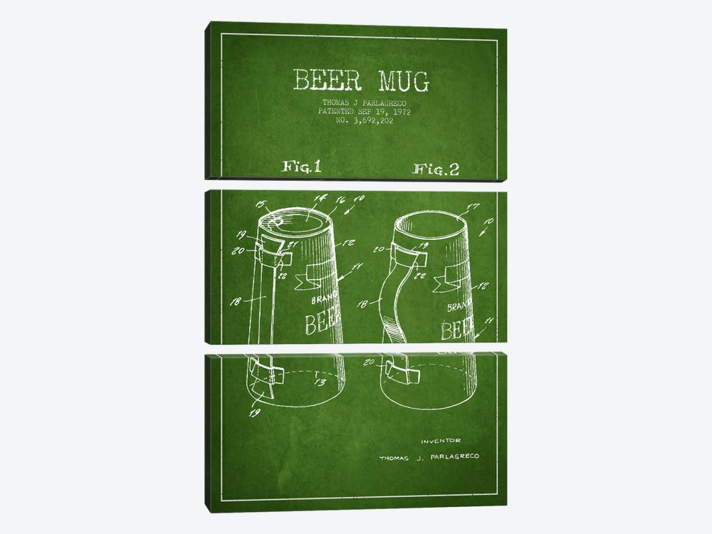 Beer Mug Green Patent Blueprint by Aged Pixel 3-piece Canvas Print