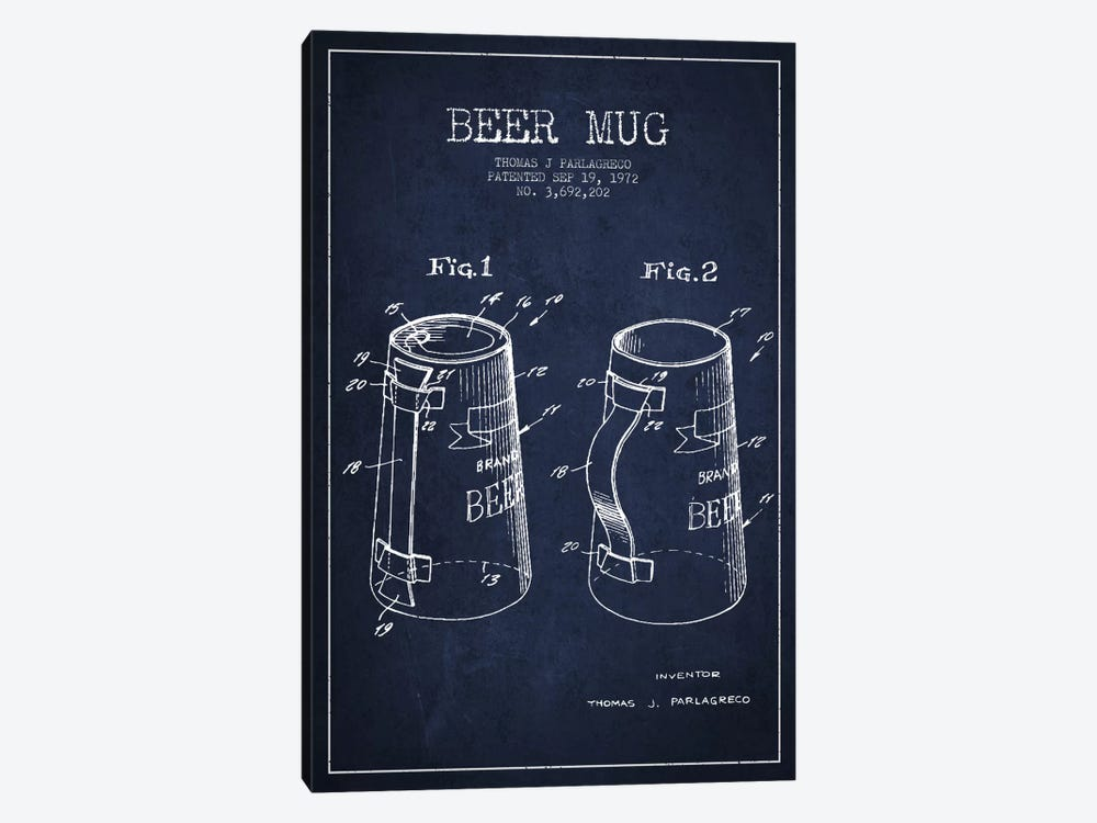 Beer Mug Navy Blue Patent Blueprint by Aged Pixel 1-piece Canvas Artwork