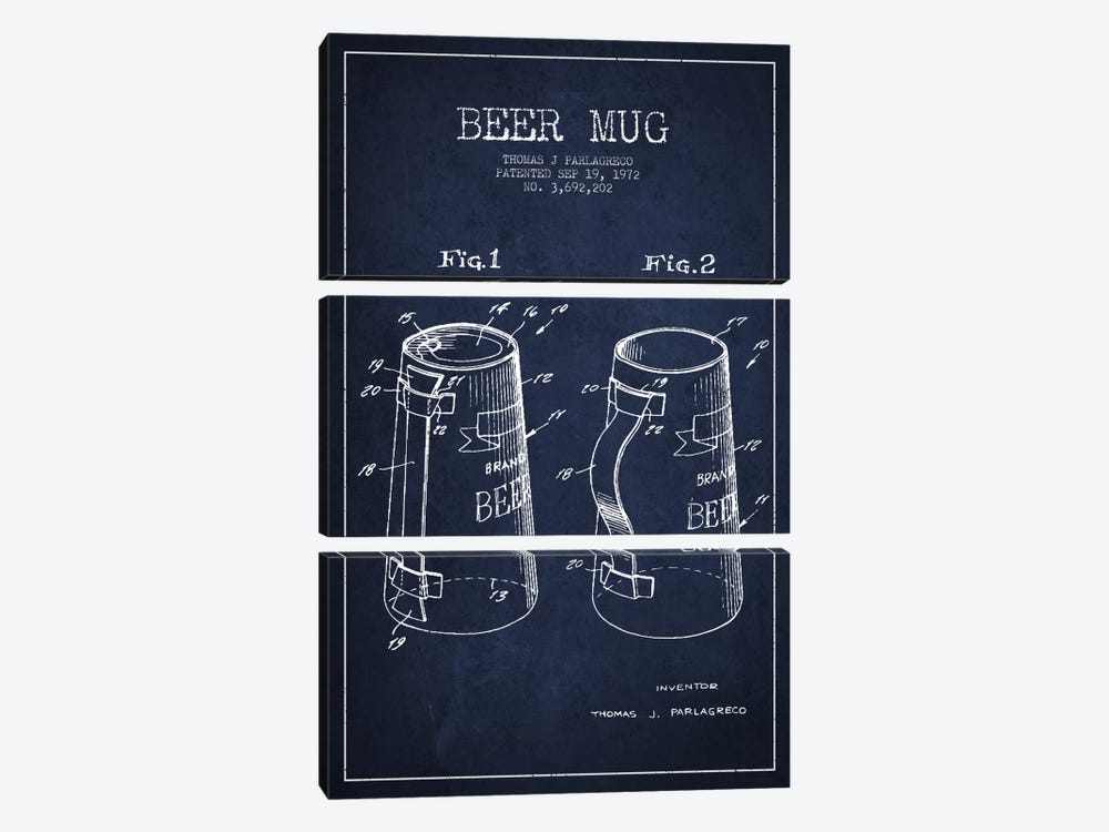 Beer Mug Navy Blue Patent Blueprint by Aged Pixel 3-piece Canvas Artwork