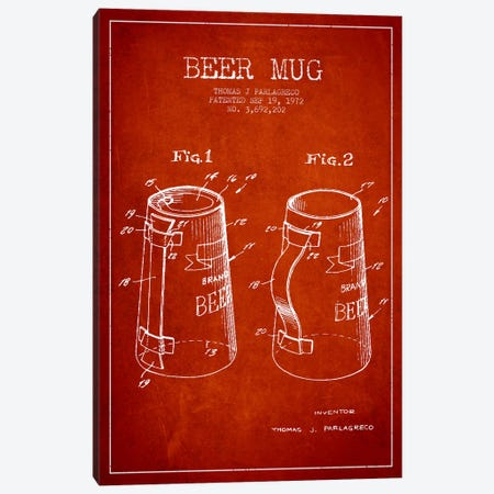 Beer Mug Red Patent Blueprint Canvas Print #ADP707} by Aged Pixel Art Print