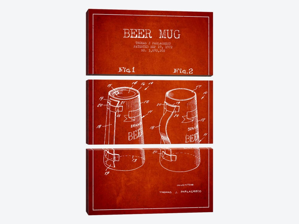 Beer Mug Red Patent Blueprint by Aged Pixel 3-piece Canvas Print