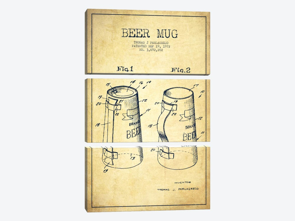 Beer Mug Vintage Patent Blueprint by Aged Pixel 3-piece Canvas Wall Art