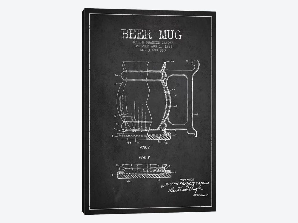 Beer Mug Charcoal Patent Blueprint by Aged Pixel 1-piece Canvas Art Print