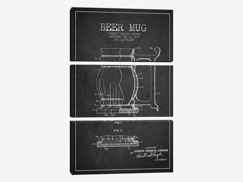 Beer Mug Charcoal Patent Blueprint by Aged Pixel 3-piece Canvas Art Print