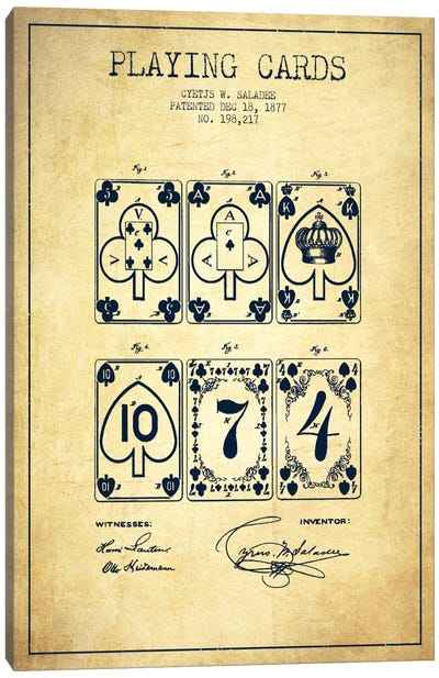 Saladee Cards Vintage Patent Blueprint Canvas Art Print