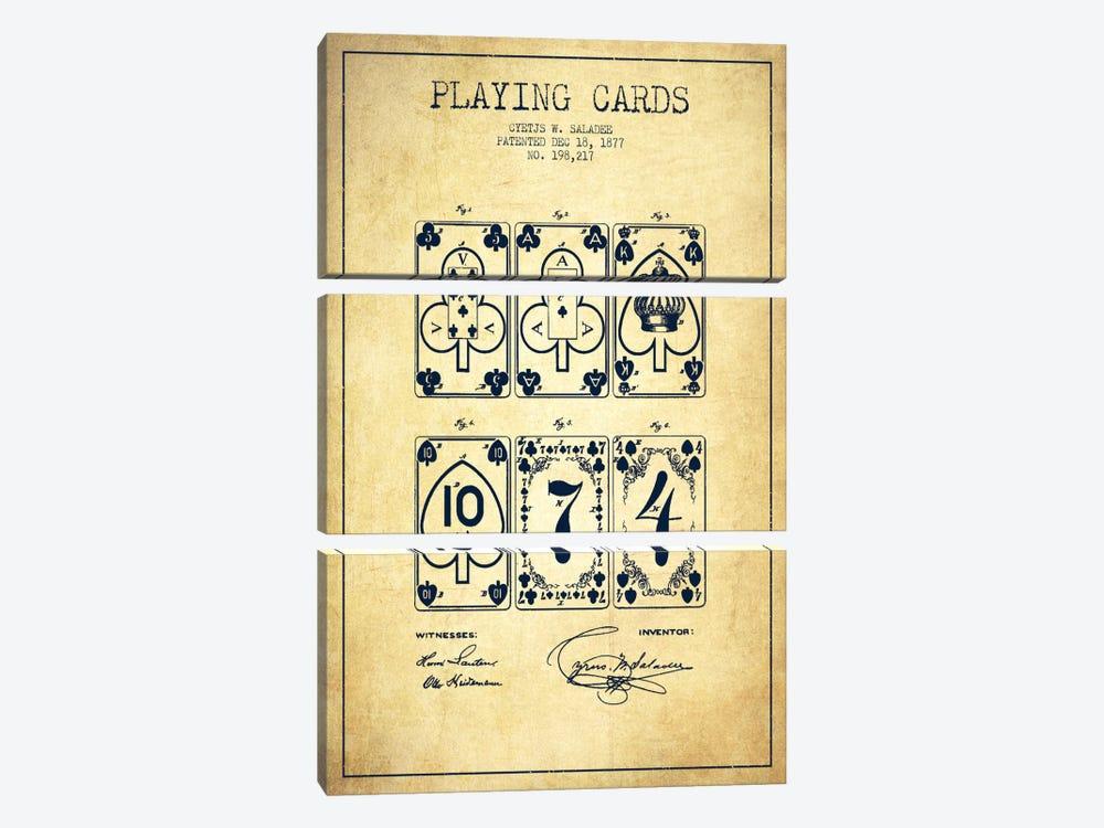 Saladee Cards Vintage Patent Blueprint by Aged Pixel 3-piece Canvas Art