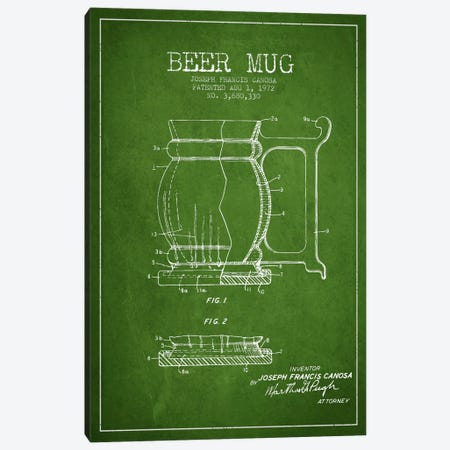 Beer Mug Green Patent Blueprint Canvas Print #ADP710} by Aged Pixel Art Print