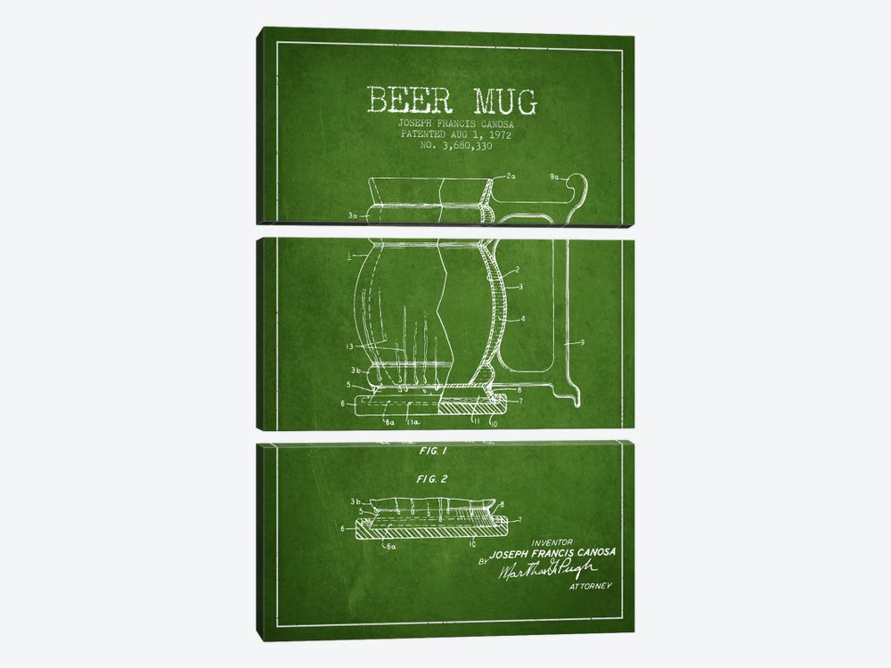 Beer Mug Green Patent Blueprint by Aged Pixel 3-piece Canvas Art Print