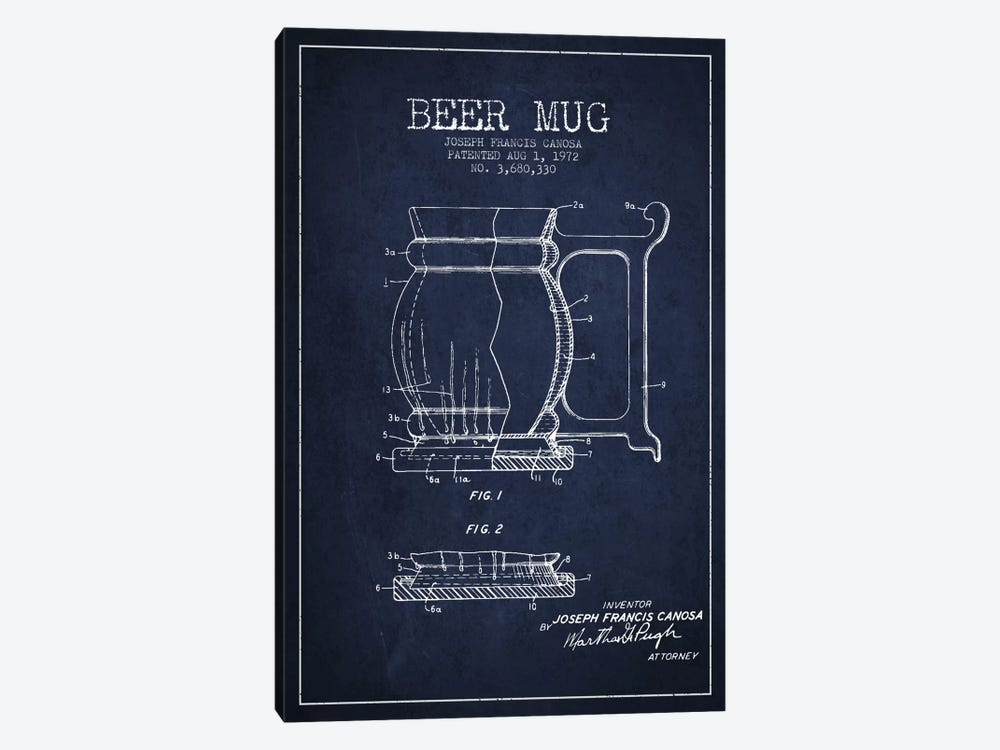 Beer Mug Navy Blue Patent Blueprint by Aged Pixel 1-piece Canvas Art