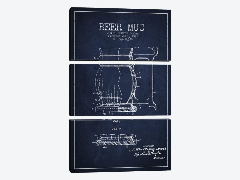 Beer Mug Navy Blue Patent Blueprint by Aged Pixel 3-piece Canvas Art