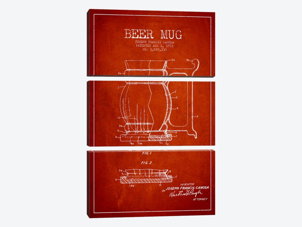 Beer Mug Red Patent Blueprint by Aged Pixel 3-piece Art Print
