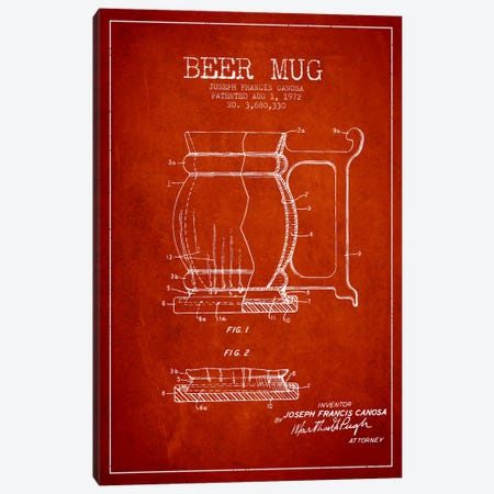 Beer Mug Red Patent Blueprint Canvas Print #ADP712} by Aged Pixel Canvas Print