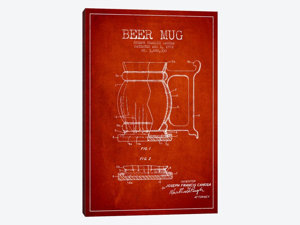 Beer Mug Red Patent Blueprint by Aged Pixel 1-piece Canvas Art Print