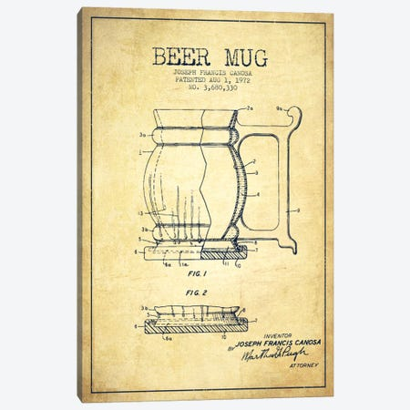 Beer Mug Vintage Patent Blueprint Canvas Print #ADP713} by Aged Pixel Canvas Print