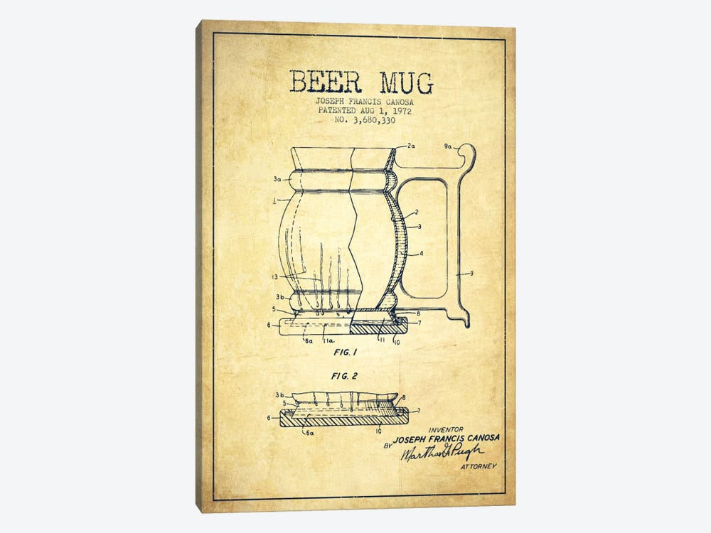 Beer Mug Vintage Patent Blueprint by Aged Pixel 1-piece Canvas Art